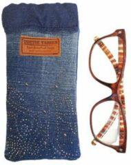 Toetie & Zo Handgemaakte Brillenkoker Jeans Glitter - Bling - Denim - Spijkerstof - Blauw - Knijpsluiting - Brillenetui - Brillentas - Snappouch