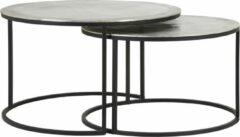 Zilveren Light & Living TALCA - Salontafel - Set van 2 - ruw nikkel