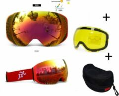 Improducts Goggle / Skibril met EXTRA magnetische lens All red frame Rood AX type 4 Cat. 0 tot 4 - ☀/☁