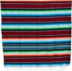 Blauwe Hecho en Mexico Mexicaanse Deken - Plaid - Serape - Gerecycled Acryl - 210 x 150 - Bruin - BBXZZ0brown