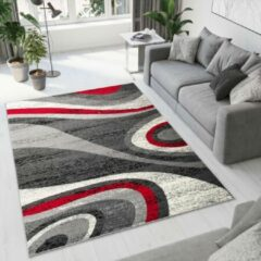 Tapiso Dream Vloerkleed Woonkamer Slaapkamer Donkergrijs Rood Golven Abstract Design Modern Sfeervol Duurzaam Praktisch Hoogwaardig Tapijt Maat - 200 x 300 cm