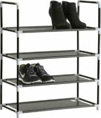 Zwarte TecTake - metalen schoenenrek, 4 niveaus, max. 12 paar schoenen -402104