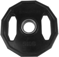 Zwarte Tunturi Olympische Halterschijf - Halter gewichten - 1x 5 kg - 50mm - Rubber