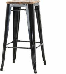Legend metalen café barkruk - Met houten zitting - 65 cm hoog - Zwart