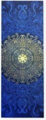 Dancer Dancewear Yoga handdoek PRANAYAMA | antislip | yogamat bescherming met siliconen grip | yogahanddoek lang 185 cm x 65 cm | Blauw - goud