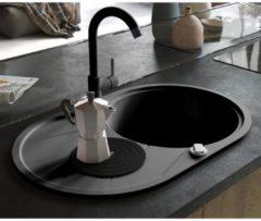 VidaXL Lavello da Cucina in Granito Vasca Singola Ovale Nero
