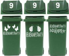 Witte Rosami Decoratiestickers Voordeelset 6 x kliko / container sticker straatnaam & huisnr | Rosami