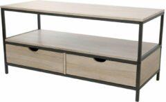 Bruine Gebor Industriële TV meubel met metalen onderstel – met 2 laden en 1 schap - Industrieel Design – 55x120x39,5cm – Interieur – Model Loft