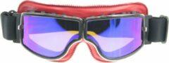 CRG rood leren cruiser motorbril - blauw reflectie