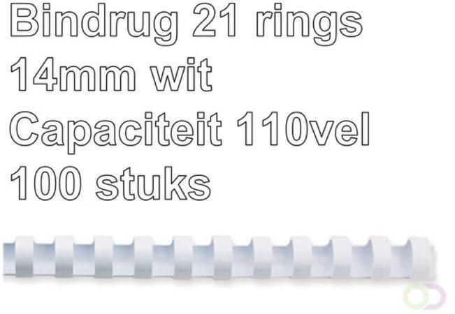 Afbeelding van GBC CombBind bindruggen, doos van 100 stuks, 14 mm, wit