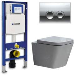 Douche Concurrent Geberit UP 100 Toiletset - Inbouw WC Hangtoilet Wandcloset - Alexandria Delta 21 Glans Chroom