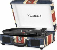 Blauwe Victrola Vsc-550 BtUsb Retro Platenspeler Vintage Union Jack