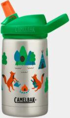 Groene CamelBak Eddy+ Kids SST Vacuum Insulated - Isolatie Drinkfles - 350 ml - Metaal (Camp Foxes)