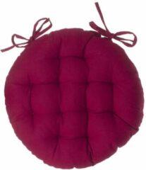 Atmosphera DELUXE stoelkussen rond warm rood - ronde stoelkussens - D38 cm - Met 2 lintjes