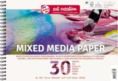 Witte Mixed media paper A4-formaat 250g/m FSC-mix 30 vellen in een dubbelspiraal gebonden blok