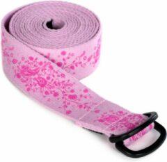 Yoga riem yogibelt indian flower, Pd-ring - roze Yoga riem YOGISTAR