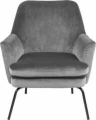 Lisomme fauteuil Jez - Fluweel - Donkergrijs