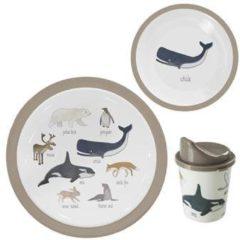 Kinderservies Noordpool dieren - 3-delig - Bord - Kom - Beker - Sebra