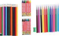Rode Topwrite Kids Tekenset - 38 stuks - kleurpotloden, viltstiften, waskrijtjes, puntenslijper