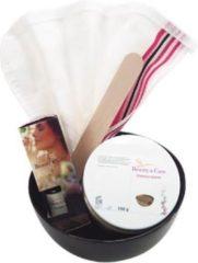 Bruine Beauty & Care - Gezichtsmasker cadeaupakket - ghassoul - kese scrubhandschoen - zwart schaaltje