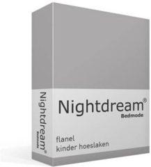 Grijze Snoozing Nightdream flanel kinder hoeslaken Grijs Ledikant (60x120 cm) (20 grijs)