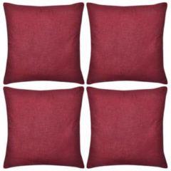 Rode VidaXL Kussenhoezen katoen 40 x 40 cm bordeauxrood 4 stuks