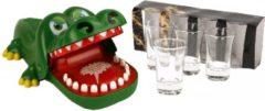 Merkloos / Sans marque Vrijgezellenfeestje drankspellen bijtende krokodil met kiespijn - Inclusief 4 stuks gratis shotglazen