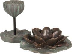Decoratie waxinelichthouder - 26*17*14 cm - groen - kunststof - waterlelie - Clayre & Eef - 6PR2649