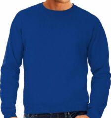 Bc Grote maten sweater / sweatshirt trui blauw met ronde hals voor heren - blauwe - basic sweaters 3XL (58)