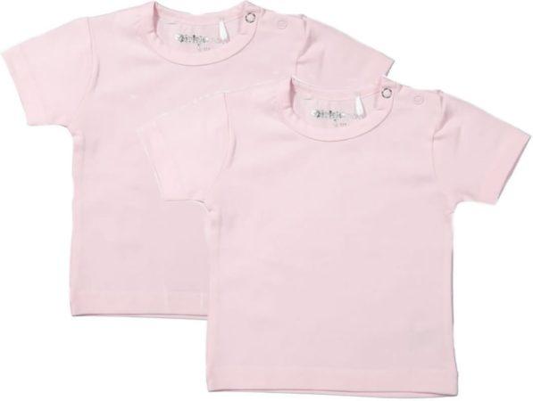 Afbeelding van Dirkje Meisjes Shirts Korte Mouwen (2stuks) Lichtroze - Maat 80