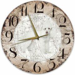 Bruine Creatief Art Houten Klok - 30cm - Hond - Poedel