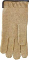 Beige Clausy Handschoenen heren van 100% wol en met echt leren randje