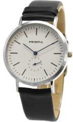 Prisma Herenhorloge P.1225 Lederen band Zilverkleurig