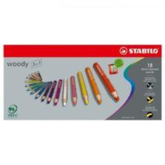 STABILO Woody 3 in 1 - Multi Talent Kleurpotlood - Etui Met 18 Kleuren + Puntenslijper