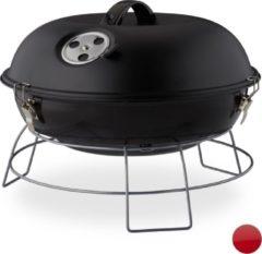 Relaxdays Kogelbarbecue - houtskoolbarbecue - kogelgrill - deksel - rond - draagbaar zwart