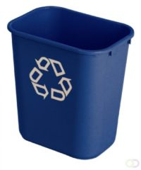 Rechthoekige afvalbak 26,6 ltr, Rubbermaid blauw, recyclingsymbool