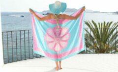 Merkloos / Sans marque Sarong | 100 x 170cm | Pareo | Saunadoek | Wikkeldoek | Sjaal | Omslagdoek | Bali | Blauw | Roze