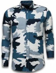 Tony Backer Italiaanse Overhemden - Slim Fit Overhemd - Blouse Classic Army Pattern - Blauw Casual overhemden heren Heren Overhemd Maat 3XL