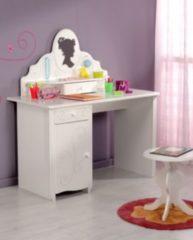 Schreibtisch mit Aufsatz und Hocker weiss tiefgezogen lackiert Parisot Alice 12