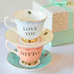 """Lichtblauwe Yvonne Ellen porseleinen set van 2 kop en schotels 'Love You"""" """"Ditto"""""""