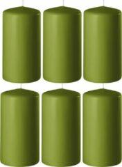 Enlightening Candles 8x Olijf groene cilinderkaarsen/stompkaarsen 6 x 12 cm 45 branduren - Geurloze kaarsen olijf groen - Woondecoraties