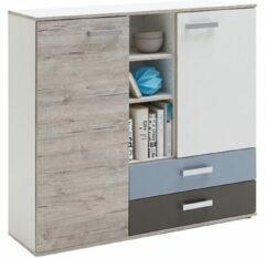 FD Furniture Opbergkast Nona 105 cm hoog - Zand eiken met wit