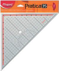 Transparante Maped Office Practica driehoek voor inlijsten - 45 graden (hypotenusa 35 cm)
