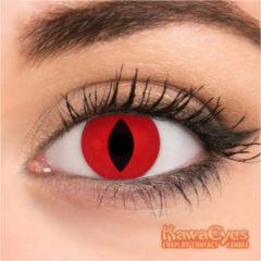 KawaEyes Demon Fire partylenzen halloween - incl. lenzendoosje - kleurlenzen - crazy lenzen - jaarlenzen - rood - carnaval - feest