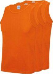 Awdis 3-Pack Maat L - Sport singlets/hemden oranje voor heren - Hardloopshirts/sportshirts - Sporten/hardlopen/fitness/bodybuilding - Sportkleding top oranje voor mannen