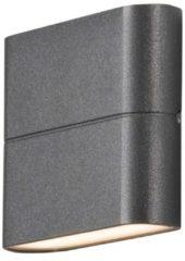 Antraciet-grijze Konstsmide 7972 - Wandlamp - Chieri PowerLED 230V flush twinlight - 11x9cm - 2x 3W - warmwit 3000K - antraciet