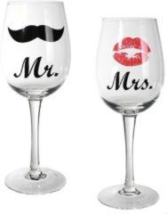 MikaMax Mr & Mrs Wijnglazen 430 ml Set van twee - Wijnglas