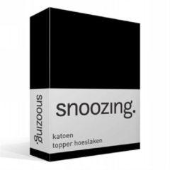 Snoozing katoen topper hoeslaken - 100% katoen - 1-persoons (80x200 cm) - Zwart