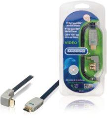 Blauwe Bandridge HDMI 1.4 High Speed with Ethernet kabel haaks naar beneden - 5 meter