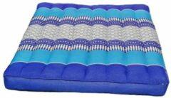 Donkerblauwe DeSfeerbrenger Kussen - Stoelkussen - Zitkussen - Meditatiekussen Thais design Blauw 50 x 50 cm